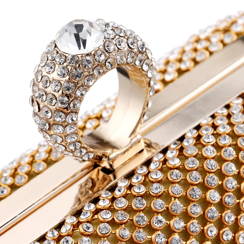 Finger Ring Diamonds Chain Shoulder Clutch 8