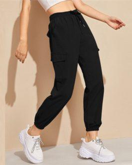 Flap Pocket Drawstring Long Carrot Trousers