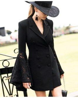 Flare Sleeve Lace Cuff Feminino V-Neck Plus Size Blazer
