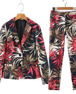 Floral Leaf Single Button Blazer And Ankle Length Pencil Pants