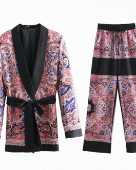 Floral Notched Blazer With Sashes Wide Leg Pants Pajama