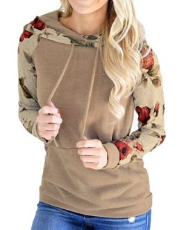 Floral Printed Sleeves Hooded Pullover