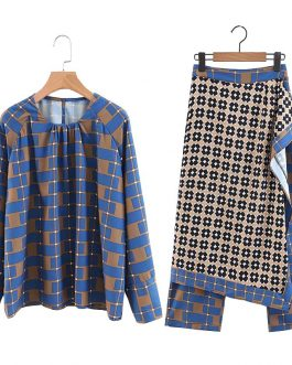 Geometric Check Blouse And Wrap Scarf Pants Skirt Vintage Outfits