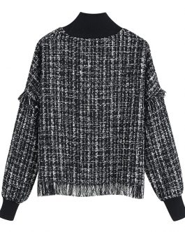Half Turtleneck Long Sleeve Tweed Casual Jumper Tops