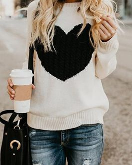 Heart Shaped Contrast Design Sweater