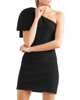 High Fashion One Shoulder Bow Mini Dress