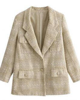 High Fashion Tweed Vintage Oversize Pocket Blazer