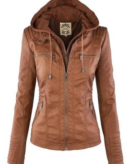 Hooded Leather Moto Jacket