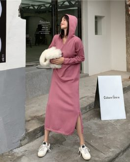 Hooded Straight Split Fashion Prairie Chic Elegant Sweater Dress