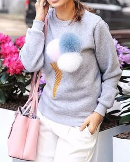 Ice Cream Cone Pom Pom Design Sweatshirt