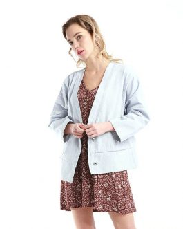 Kimono Loose Casual Lattice Denim Fancy Jacket