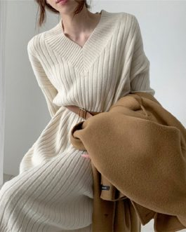 Knitting Straight Korean Style Fashionable Elegant Sweater Dress