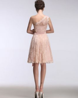 Lace One Shoulder Short Sleeveless A Line Ribbon Bow Sash Knee Length Party Prom Bridesmaid Dress