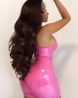 Leather Like Sleeveless Zipper Dresses