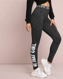 Letter Print Graphic Marled Leggings