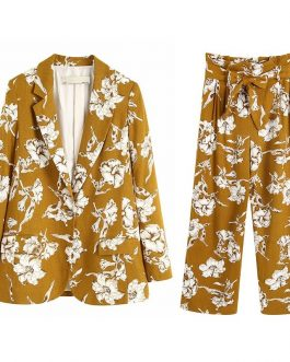 Lily Floral Suit High Waist Wide Leg Pants Outfit