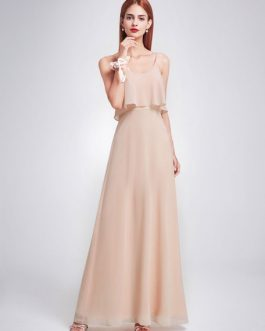 Long Chiffon Straps Sleeveless Ruffles A Line Floor Length Prom Party Bridesmaid Dress