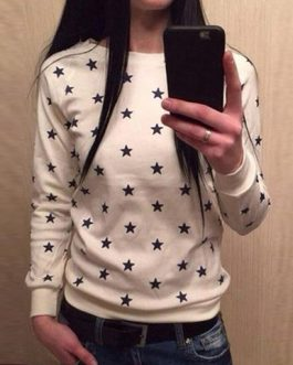 Long Sleeved Star Themed Sweatshirt