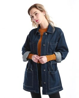 Loose Casual Long Sleeve Cotton Washed Denim Fancy Jacket