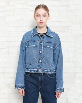 Loose Long Sleeve Panelled Splice Rib  Denim Fancy Jacket