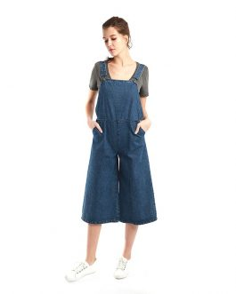 Loose Pant Cotton Washed  Denim Dungaree