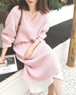 Mid-Calf Knitting V-Neck Korean Style Straight Sweater Dress