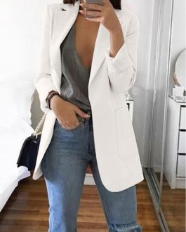 Notched Collar Flattering Long Length Casual Blazer