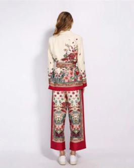 Notched Collar Floral Blazer Pajama Pants 2 Pcs