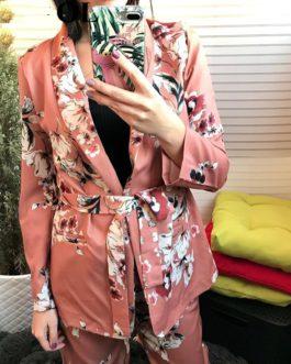 Notched Collar Smooth Vintage Elastic Waist Pants Floral Blazer