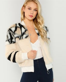 O-Ring Zip Up Stand Collar Faux Fur Glamorous Warm Coat