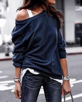 Off Shoulder Long Sleeves Casual Blouse
