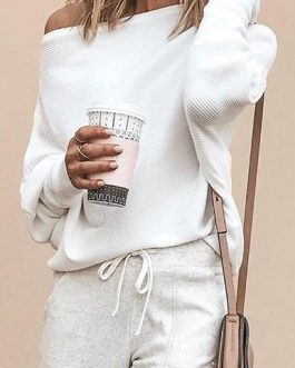 Off Shoulder Long Sleeves Casual Sweatshirt