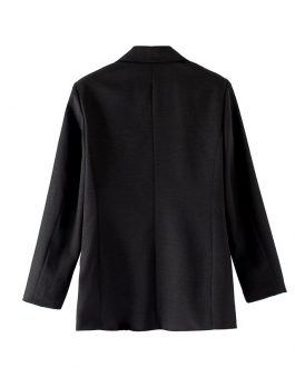 Office Lady Notched Collar Double Breasted Two Pockets Blazer