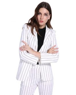 Office Lady Notched Collar Open Stitch Striped Blazer