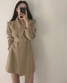 Office Lady Notched Collar Sashes  Full Sleeve Blazer Dress