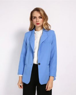 Office Lady Notched Collar Single Button Street wear Blazer