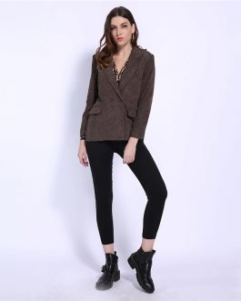 Office Lady Notched Double Breasted Corduroy Blazer