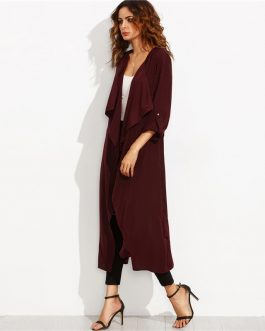 Office Lady Rolled Up Split Back Self Tie Long Trench Coat