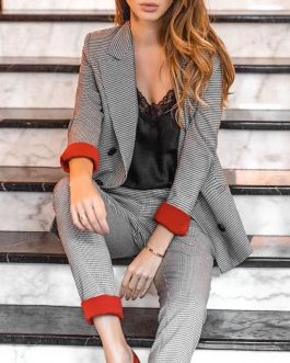Office lady checkered suit high fashion blazer set