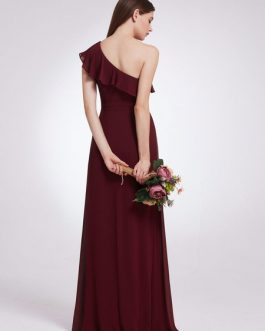One Shoulder A Line Floor Length Zipper Matte Satin Ruffles Wedding Party Bridesmaid Dresses