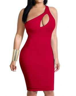 One Shoulder Sleeveless Sexy Party Dress