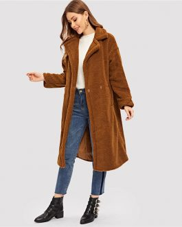 Open Front Casual Teddy Fashion Warm Long Coat