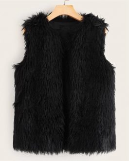 Open Front Sleeveless Glamorous Faux Fur Vest Coat Without Tee