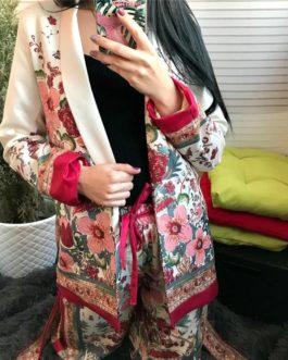 Open Stitch Floral Belt Notched Collar Blazer