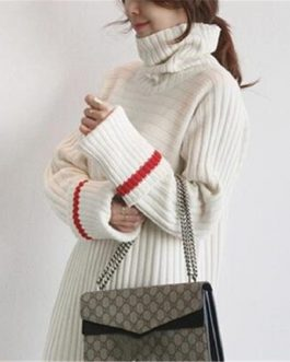 Patchwork Turtleneck Straight Knitting Warm Office Ladies Sweater Dress
