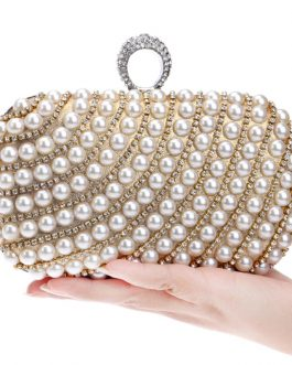 Pearl Diamond-Studded Wedding Clutch