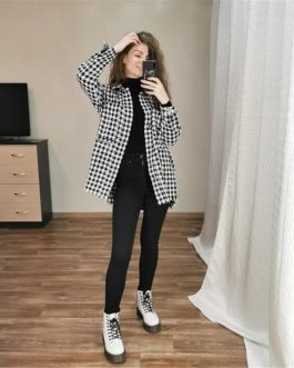 Plaid Twist Tweed Long Turn-down Collar Loose Trendy Jacket