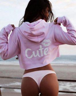 Printed Midriff Cut Hoodie Style Sweatshirt