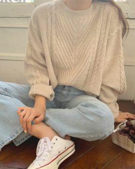 Pullovers Minimalist Knitting Vintage Solid Sweaters