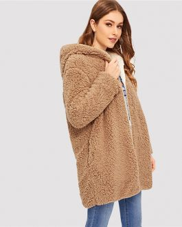 Reversible Hoodies Elegant Street wear Warm Teddy Coat